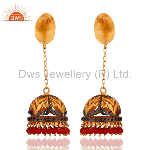 Exporter 22K Yellow Gold Plated Natural Semi Precious Stone Red Onyx Beads Bridal Earring