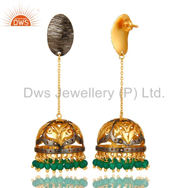Exporter 18K Yellow Gold Plated Sterling Silver Natural Green Onyx Beads Jhumka Earrings