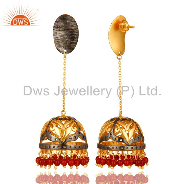 Exporter 14K Yellow Gold Plated Sterling Silver Red Onyx Beads Jhumka Fashion Earrings