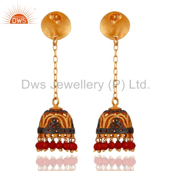Exporter Natural Red Onyx 14-karat Yellow Gold Plated Women Fashion Jhumka Dangle Earring