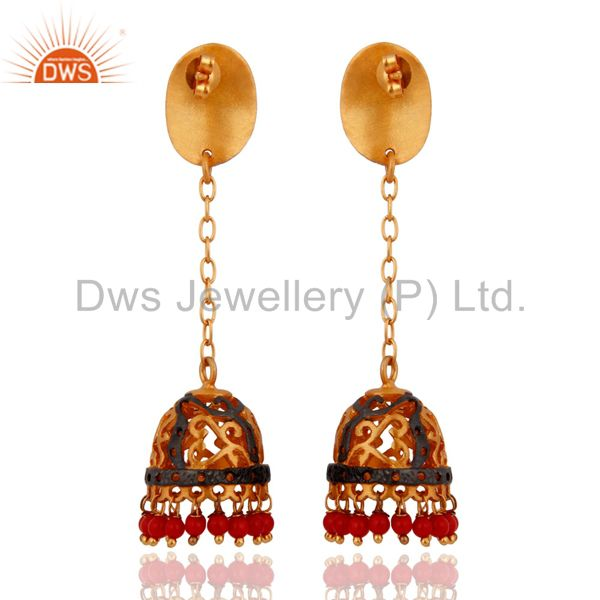 Exporter Natural Red Coral Gemstone 24k Yellow Gold Plated Indian Ethnic Designer Earring