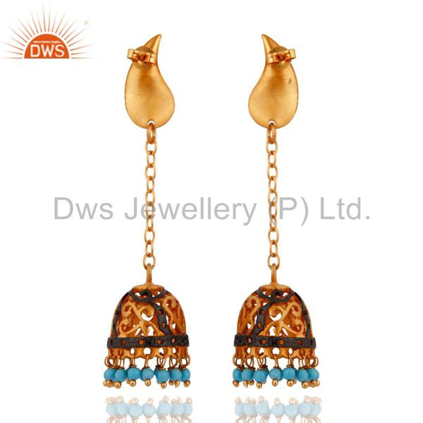 Exporter Indian Traditional 18-Karat Yellow Gold Plated Turquoise Gemstone Dangle Earring