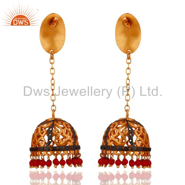 Exporter Indian Design 18k Yellow Gold Plated Red Coral Dangle Earrings Jewelry