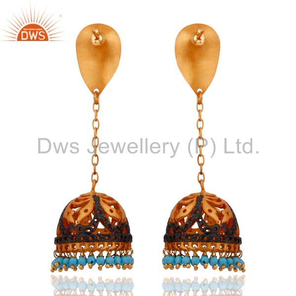 Exporter Indian Handmade 22Kt. Yellow Gold Plated Turquoise Semi Precious Stone Earrings