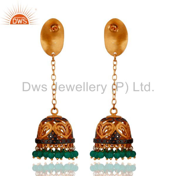 Exporter Gorgeous 22k Gold Plated Round Beads Green Onyx Indian Handmade Dangle Earrings