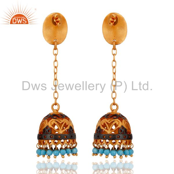 Exporter Natural Turquoise Gemstone 22K Yellow Gold Plated Designer Dangle Earrings