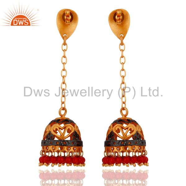 Exporter Indian Handmade Design 22k Yellow Gold Plated Red Coral Gemstone Drop Earrings