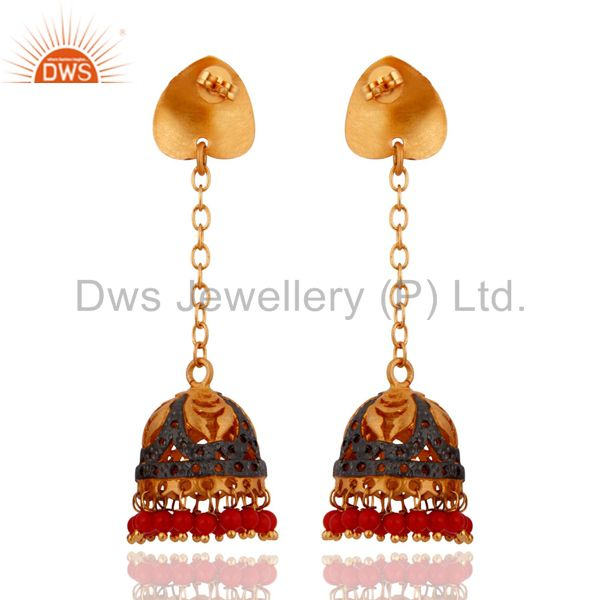 Exporter Indian Traditional Red Coral Immitation Fashion Gold Plated Jhumka Earrings