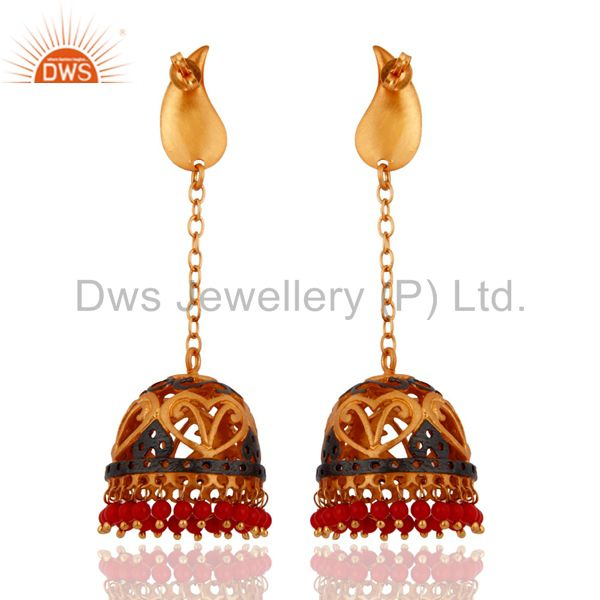 Exporter Designer 22k Yellow Gold Plated Handcrafted Coral Red Indian Jhumkas Earrings