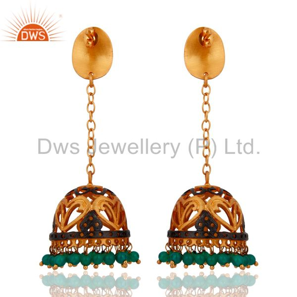 Exporter Natural Green Onyx Gemstone Jewelry 22k Yellow Gold Plated Long Chain Earrings
