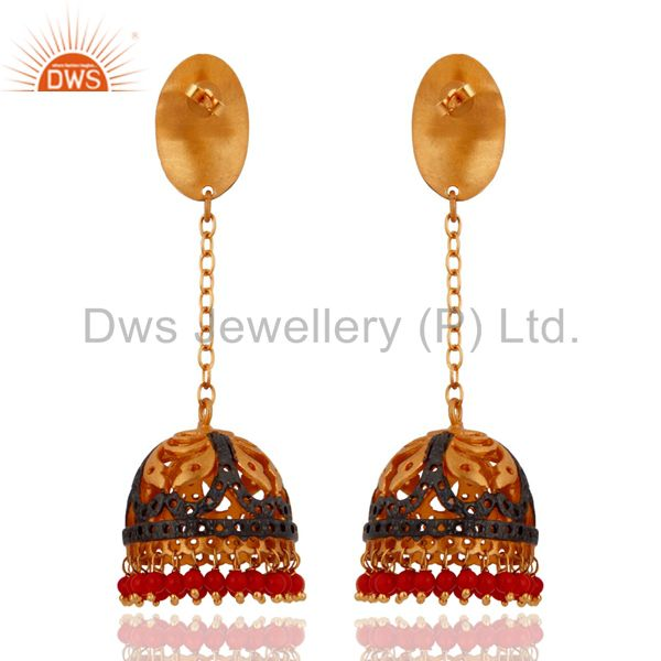 Exporter Red Coral Gemstone Beautiful 18k Yellow Gold Plated Jhumka Style Earrings