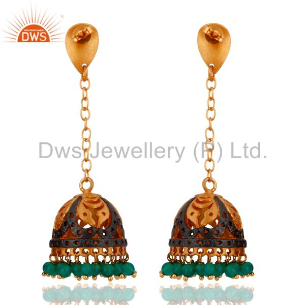 Exporter Stunning 22K Yellow Gold Plated Jhumki Earring Embellished With Green Onyx Beads