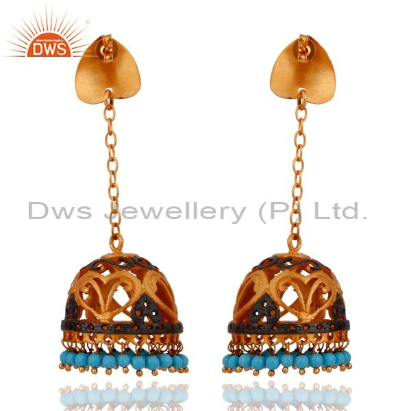 Exporter Natural Turquoise Gemstone Dangle Earrings With 22k Gold Plated Indian Jewelry