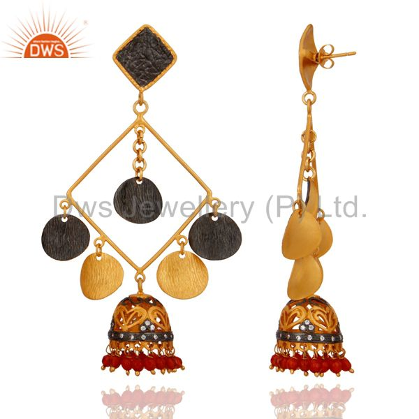 Exporter Exquisite 24K Gold Plated Red Onyx Gemstone Tribal Fashion Designer Earrings
