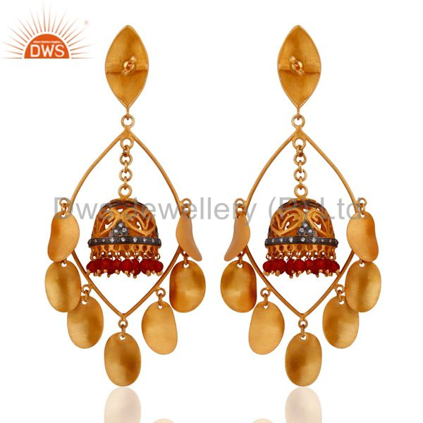 Exporter 18K Yellow Gold Plated Natural Red Onyx Gemstone Post Earrings With Screw-back
