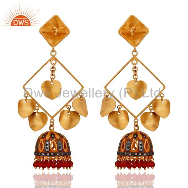 Exporter Designer Red Onyx 18K Yellow Gold Plated Costume Indian Earrings Fashion Jewelry