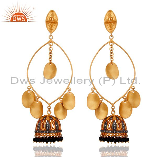 Exporter Indian Unique Designer 18-Karat Gold Plated Black Onyx Jewelry Handmade Earrings