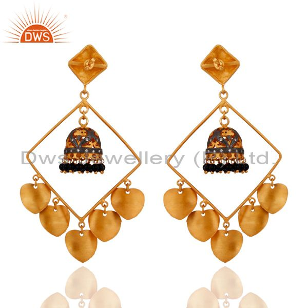 Exporter Handmade Black Onyx Gemstone Jhumka Earrings With 24k Yellow Gold Plated Jewelry
