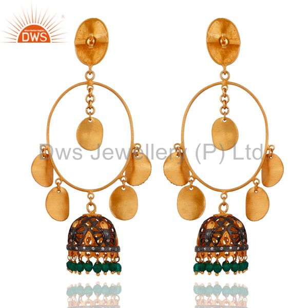 Exporter 18kt. Gold Plated Over Brass Green Onyx Indian Artisan Crafted Gemstone Earrings