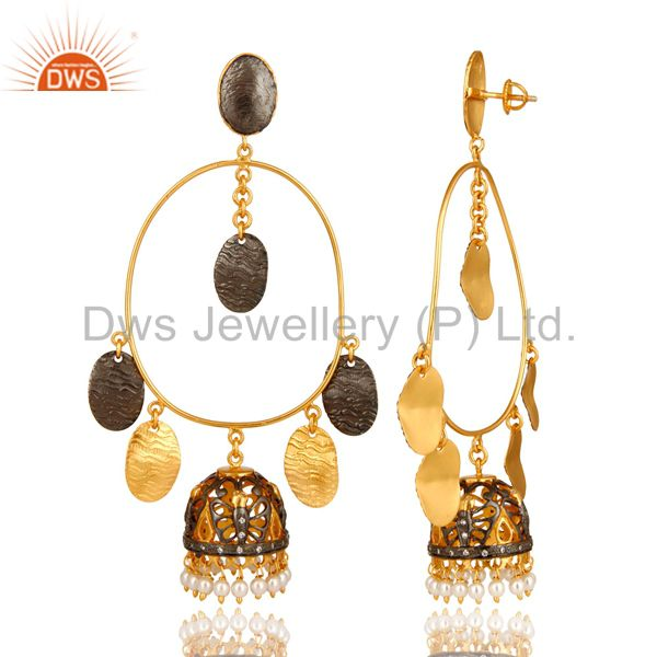 Exporter 22K Gold Over Sterling Silver Pearl Traditional Designer Fashion Jhumka Earrings