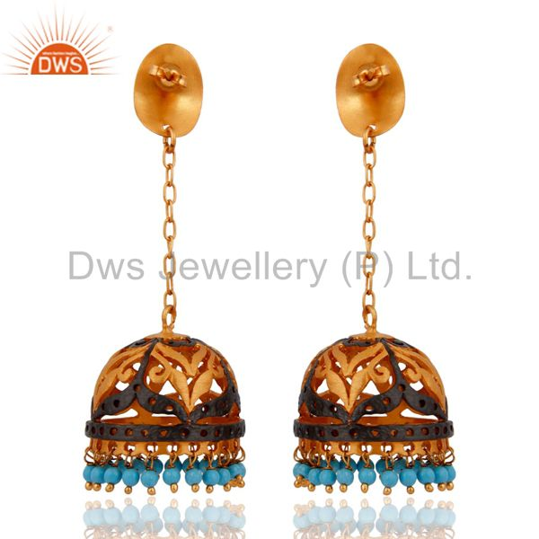Exporter Handmade Turquoise Gemstone Dangle Earring With 24k Yellow Gold Plated Jewelry