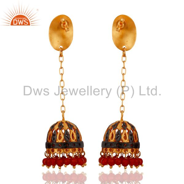 Exporter Red Onyx Gold Plated Jhumki Earrings For Womens Indian Bollywood Fashion Jewelry