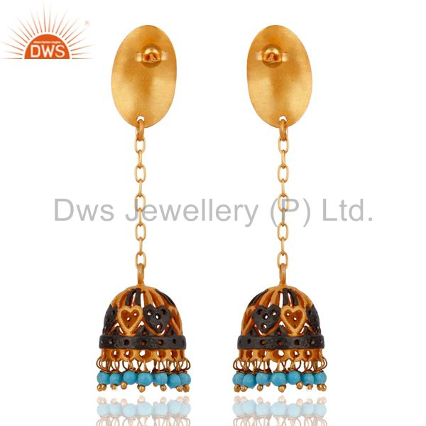 Exporter Beautiful Indian Yellow Gold Plated Oxidised Turquoise Unique Womens Earrings