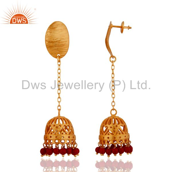 Exporter Red Coral Gemstone Beads Gold Plated Ethnic Designer Sterling Silver Earrings