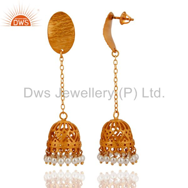 Exporter Indian Ethnic Design Natural Pearl Sterling Silver Earring With Gold Plated 18k