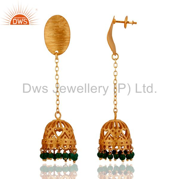 Exporter Brushed Gold Plated Sterling Silver Green Onyx Gemstone Beads Dangle Earrings