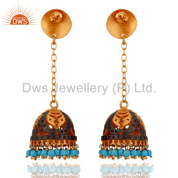 Exporter 18k Yellow Gold Plated Turquoise Gemstone Indian Ethnic Designer Jewelry Earring