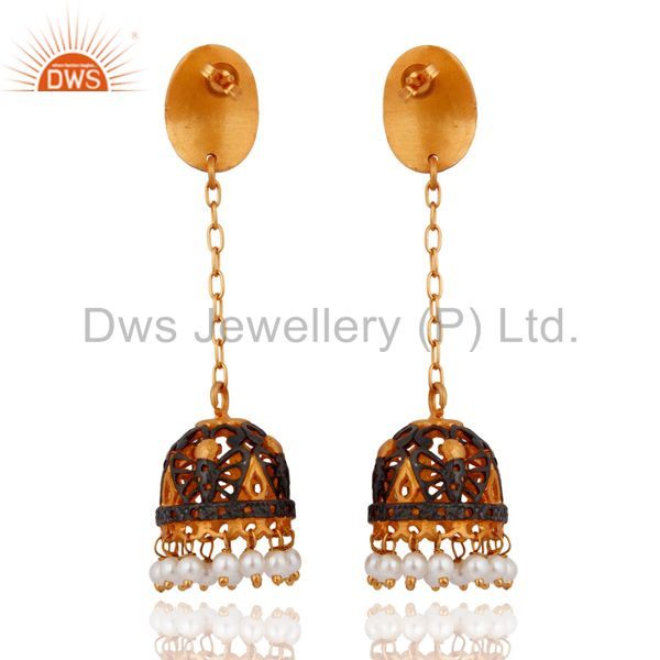 Exporter Indian Women Wear 24k Gold Plated White Pearl Beads Traditional Earring Jewelry