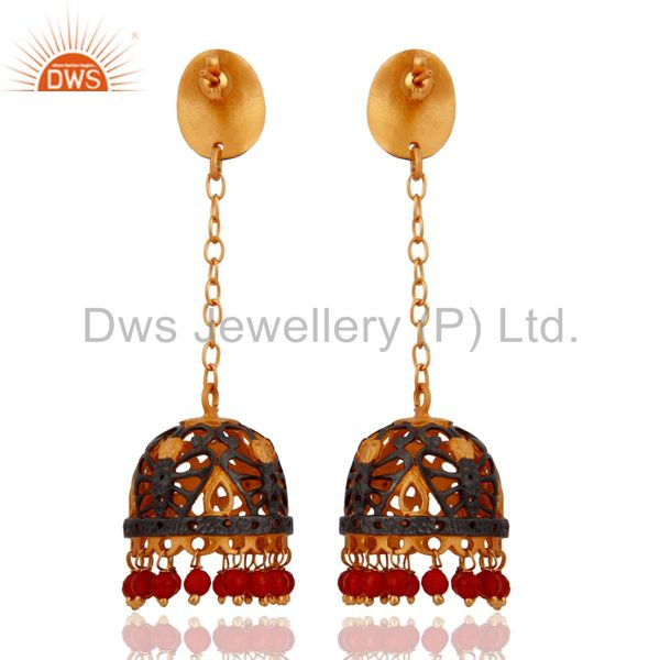 Exporter 22KT Yellow Gold Plated Natural Red Onyx Gemstone Indian Jhumki Dangle Earrings