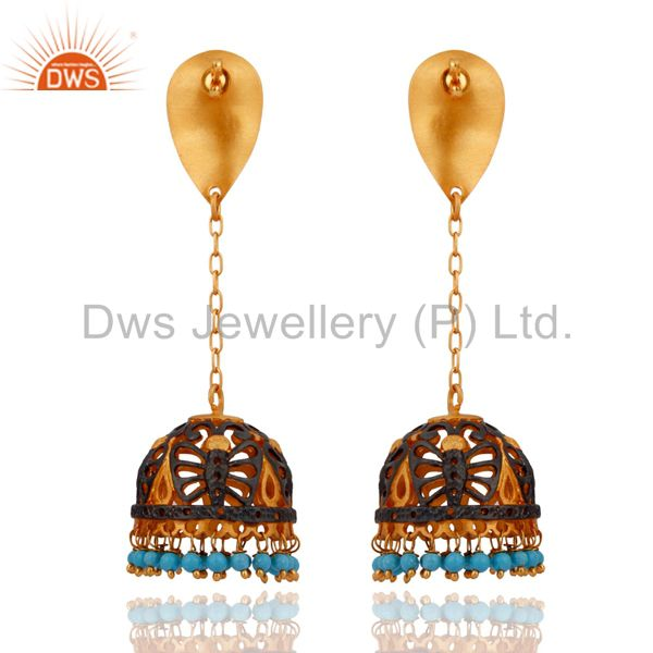 Exporter Natural Turquoise Gemstone Designer 18K Yellow Gold Plated Women Fashion Earring