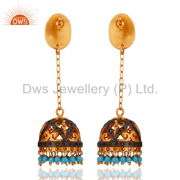 Exporter Excellent 24K Yellow Gold Plated Hanging Turquoise Gemstone Beads Earrings