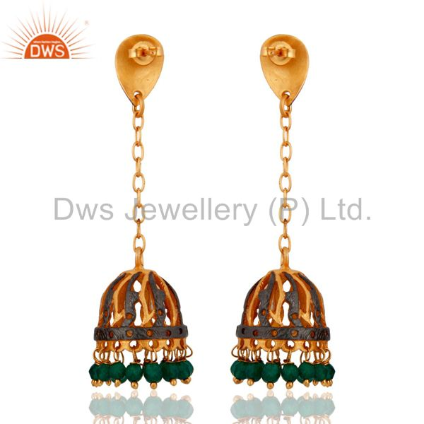 Exporter Natural Gemstone Green Onyx Beads 24k Yellow Gold Plated Chain Dangle Earrings