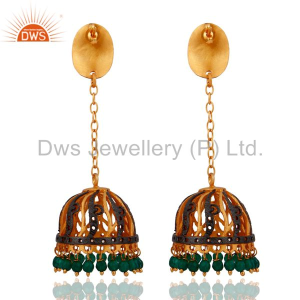 Exporter Indian 22k Yellow Gold Plated Green Onyx Gemstone Hanging Jhumki Earrings
