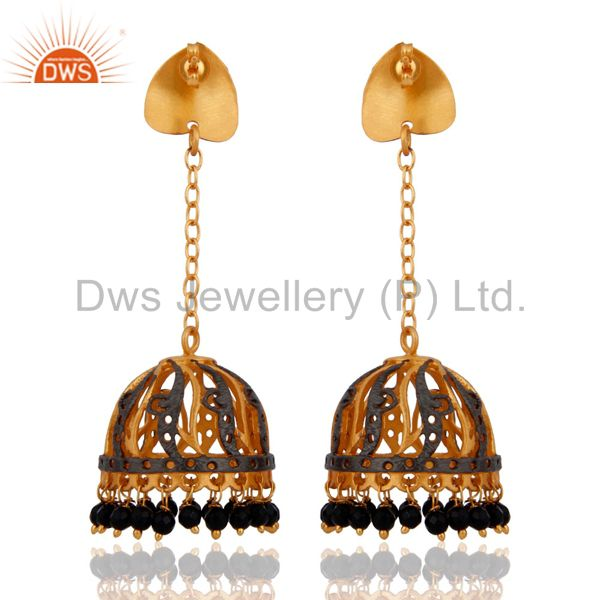 Exporter Natural Black Onyx Gemstone Designer Earring With 22K Yellow Gold Plated Jewelry