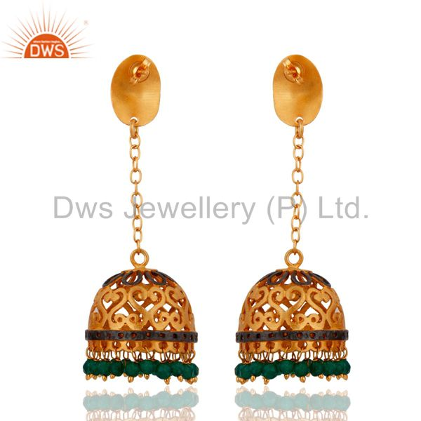 Exporter 24k Yellow Gold Plated Natural Green Onyx Gemstone Handcrafted Designer Earrings
