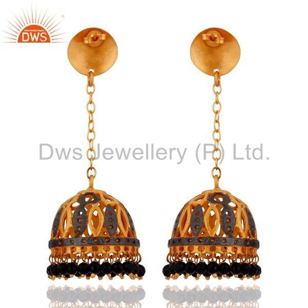 Exporter 18k Yellow Gold Plated Natural Balck Onyx Gemstone Jhumka Dangle Earrings