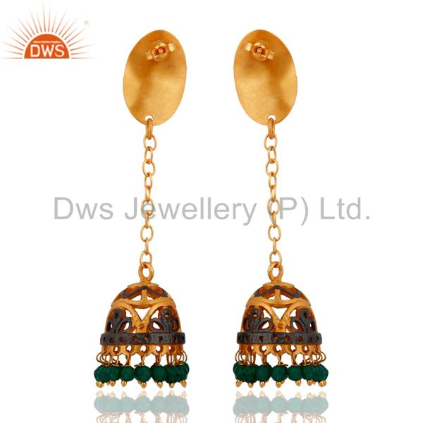 Exporter Gold Plated Green Onyx Gemstone Indo Western Designer Earrings