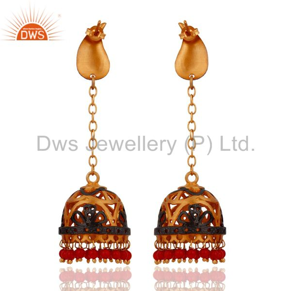 Exporter Gold Plated Red Coral Gemstone Beads Earrings