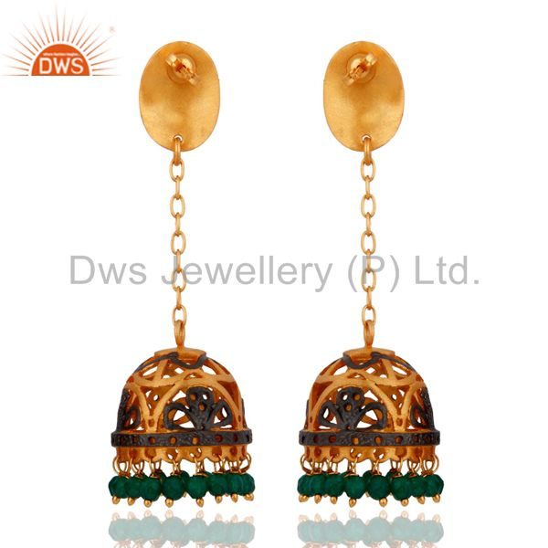 Exporter 24K Yellow Gold Plated Jewelry Natural Green Onyx Beautiful Designer Earrings
