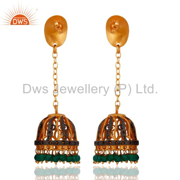 Exporter Indian Traditional 24k Gold Plated Green Onyx Gemstone Bridal Jewelry Earrings