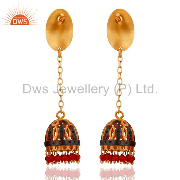 Exporter Natural Red Coral Gemstone 18K Yellow Gold Plated Ethnic Bridal Dangle Earrings