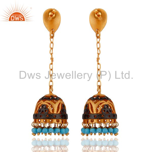 Exporter Amazing Indian New Design Ethnic Yellow Gold Plated Turquoise Earring Jewelry