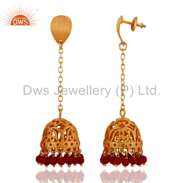 Exporter 18k Gold Plated Sterling Silver Red Coral Beads Traditional Jhumka Style Earring