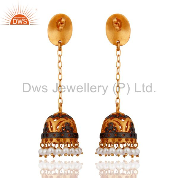 Exporter Natural Pearl 22K Gold Plated South Indian Designer Long Jhumka Bridal Earrings