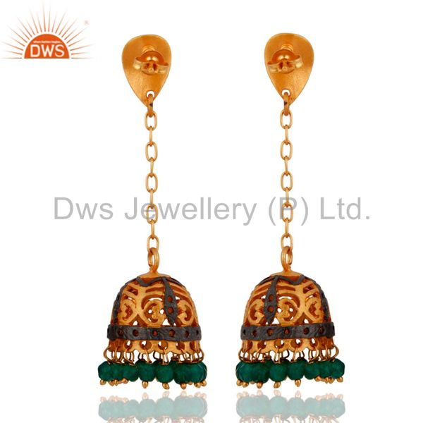 Exporter Green Onyx 22K Gold Plated South Indian Designer Long Jhumka Bridal Earrings