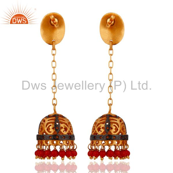 Exporter Indian Designer 18k Gold Plated Red Coral Office Wear Earrings Fashion Jewelry